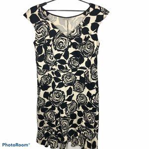 Eshakti Tan Black Floral Print Dress Size 1X/18W